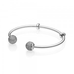 Bransoletka Pandora 596438CZ OTWARTA BANGLE MOMENTS Z CYRKONIAMI